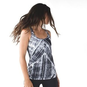 Rare Lululemon Heat Wave Black & White Stripe Tank